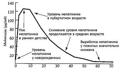График возрастных изменений количества выделяемого мелатонина.